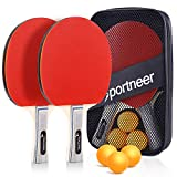 Sportneer Ping Pong Paddles Set, 2 Table Tennis Paddles and 3 Balls, Portable Ping Pong Racket Set for Adult Indoor/Outdoor Play, with Storage Bag,Best Gift for Boys and Girls