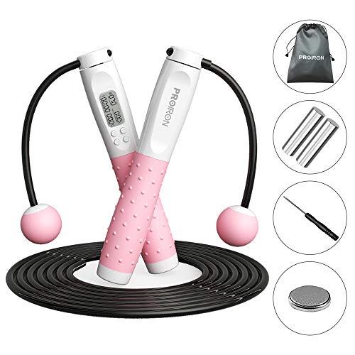 PROIRON Corda per Saltare Calorie Conta -Jump Rope Regolabile con Memoria LED Display - Professionale Corda per Crossfit Boxe Fitness Allenamento a Casa Palestra, Adulti e Bambini (Bianco e Rosa)