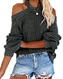 Womens Long Sleeve Cold Shoulder Halter Neck Cable Knitted Sweater Tops Sexy Pullover Loose Jumper Sweaters Grey