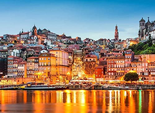 HJHJHJ Premium Basswood, imágenes de Arte de Colores Brillantes, Rompecabezas de Dibujos Animados, Pieza de 3000, decoración del hogar, Casas de Ortugal, Ciudades de Lisboa en megápolis, 122x81cm