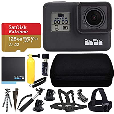 GoPro HERO7 Black Sports Action Camera + SanDisk 128GB Extreme UHS-I microSDXC Memory Card + Hard Case + Head Strap & Chest Strap + Spike Mount + Floating Handle + Monopod + Hero 7 Value Accessories! by GoPro