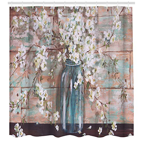 Rustic Elegant Flower Shower Curtains, Vintage Spring Floral Flowers on Vase Polyester Fabric Waterproof Shower Curtain Bathroom Accessory Sets 72 x 72 inches