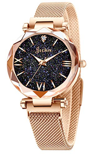 Jechin Fashion Women's Starry Sky Watch Rose Gold Magnetic Buckle Bracelet Dress Watches