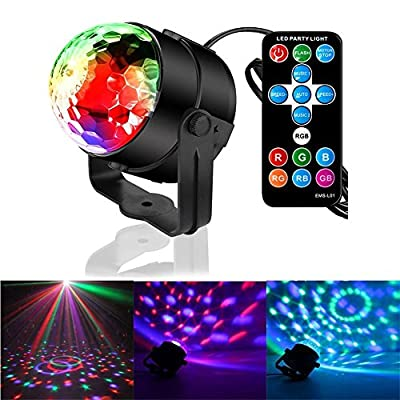 Disco Lights DJ Stage Lighting Lamps RGB Music Sound Activated LED Party Lights Magic Ball Light Strobe Effect with Remote Control for Party Dance Karaoke KTV Bar by GOSCIEN