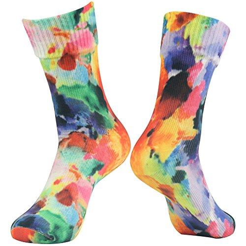 100% Waterproof Outdoor Socks, [SGS Certified] RANDY SUN Men's Women's Fun Pattern Printed Fashion Tube Sock Hiking Cycling Climbing Socks Medium