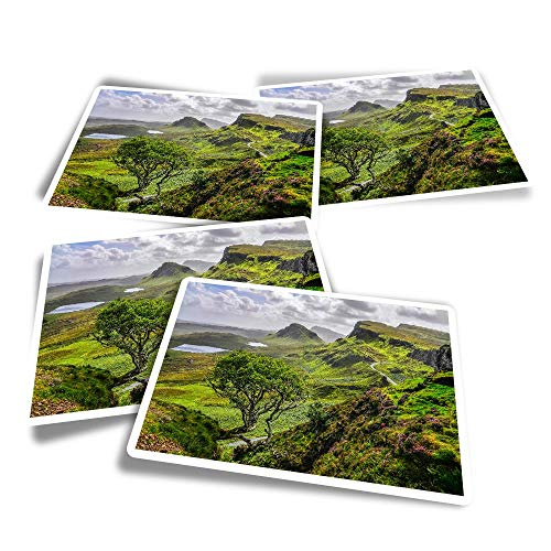 Vinyl Rectangle Stickers (Set of 4) - Quiraing Mountains Isle of Skye Scotland Fun Decals for Laptops,Tablets,Luggage,Scrap Booking,Fridges #16377