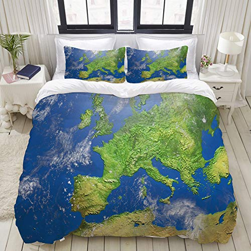 Dodunstyle DuvetCoverSet, Shaded Relief Map Europe 3D-Illustration, ColourfulDecorative3PieceBeddingSetwith2PillowShams, Twin Size