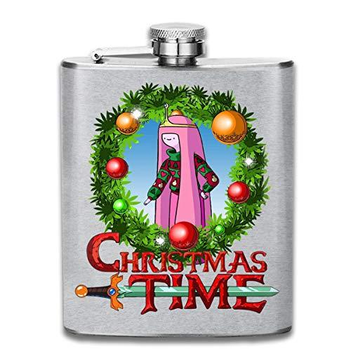 Adventure Christmas Time Kranz Prinzessin Bubblegum Cartoon Network Print Flachmann Taschenflasche Flagon 188 ml Tragbarer Edelstahl Flagon