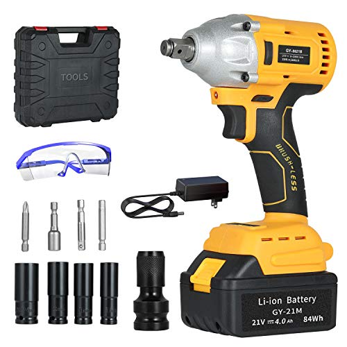 GardenJoy 21V MAX Power Impact Wrench Cordless Brushless 1/2 in.Impact Driver/Drill with 2200RPM Variable Speed,4.0A...