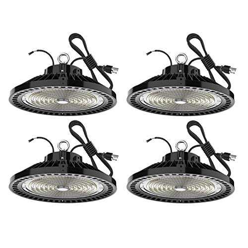 240W High Bay LED Lighting Dimmable 36000 Lumens Listed 900W HPS or MH Bulbs Equivalent 5000K Bright White Industrial Highbay Light , Warehouse Light Fixtures , AC 90-277V 4Pack