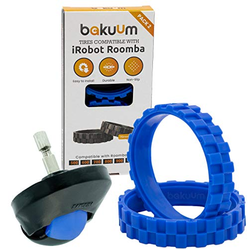 Pack 2 neumáticos + Rueda Delantera Color Azul para iRobot Roomba Series 500 600 700 800 900 i7 e5. Gran adherencia, antideslizante