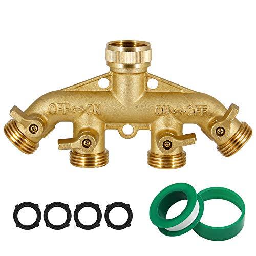Lifynste 4 Way Brass Hose Splitter, 3/4' Heavy-Duty Brass Garden Hose Splitter, Garden Hose Adapter Connector