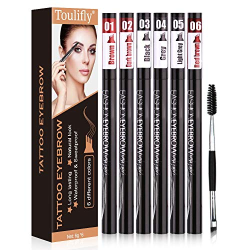 Tattoo Augenbrauenstift, Eyebrow Tattoo Pen, 6 Farben Waterproof, Waterproof Microblading Pen mit Tips, Long Lasting Microblading Eyebrow Tattoo-Bleistift mit Fork-Tipp