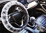 3Pcs molle del Faux di lana peluche copri volante, Universale ispessimento caldo antiscivolo Auto Interni, Fluffy freno a mano Copertura e coperchio ingranaggi (black grey,Manual)