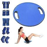 Smilerain バランスボード 体幹トレーニング バランスディスク バランストレーニング コアトレーニング コアマッスル強化 エクサ滑り止め エクササイズ 運びやすい 水洗い可能 直径40㎝ スポーツ防具セット付き
