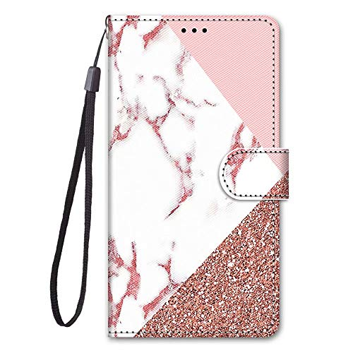 Miagon Full Body Flip PU Leder Schutzhülle für Huawei P30 Pro,Bunt Muster Hülle Brieftasche Case Cover Ständer mit Kartenfächer,Marmor