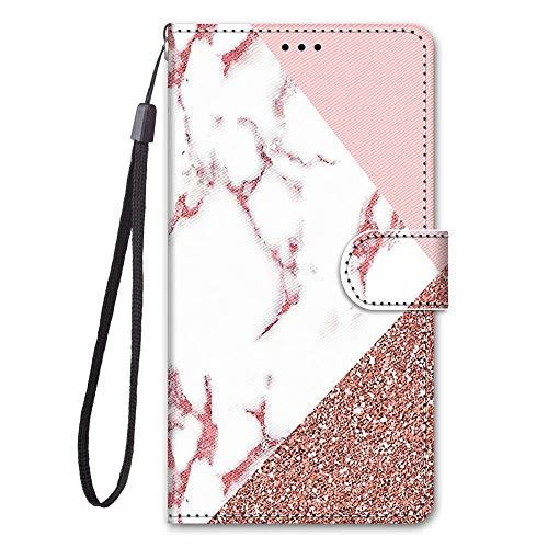 Miagon Full Body Flip PU Leder Schutzhülle für iPhone 12 Pro Max,Bunt Muster Hülle Brieftasche Case Cover Ständer mit Kartenfächer,Marmor