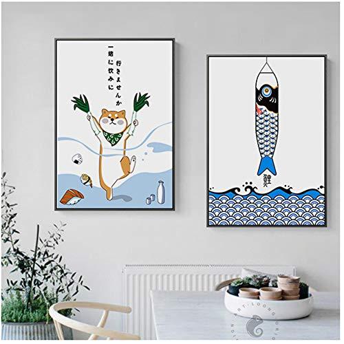 JinYiGlobal Leinwanddruck Kreative Tier Fisch NetteWandkunstBilder PosterFür Esszimmer Sushi Ort Dekoration Malerei 50x70 cm (19,7