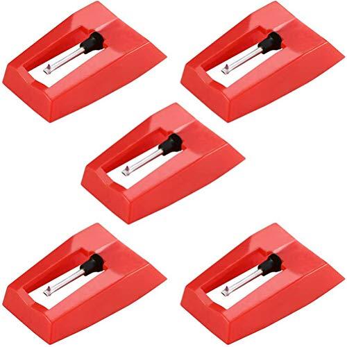 Plattenspieler-Nadel, 5-teilige Aluminium-Polstangenpatronen, Schallplatten-Plattenspieler-Patronen, Diamant-Stift-Nadeln für Plattenspieler für Schallplattenspieler