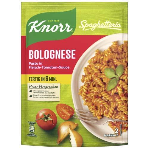 Knorr Spaghetteria Bolognese Pasta in Fleisch-Tomaten-Sauce Nudel-Fertiggericht 2 Portionen, 10er Pack
