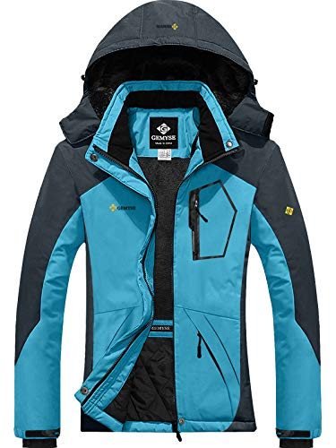 GEMYSE Women's Mountain Waterproof Ski Snow Jacket Winter Windproof Rain Jacket (Acid Blue,Small)