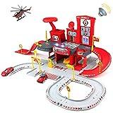 Symiu Garage Voiture Enfants Circuit Cars Jeux Educatif de Role Circuit Voiture avec Hélicoptère & Camion de Pompier Jouets Cadeau pour Enfant 3 4 5 Ans Garcon