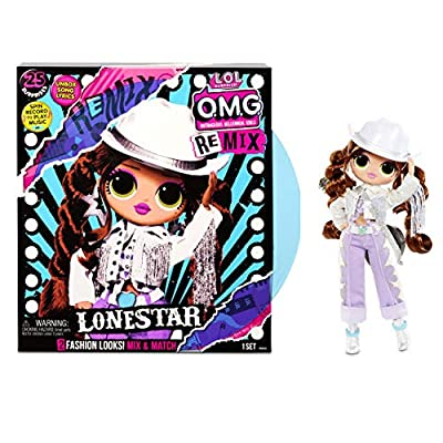 LOL Surprise OMG Remix Lonestar Fashion Doll, Plays Music with Extra Outfit, 25 Surprises Including Shoes, Hair Brush, Doll Stand, Magazine, and Record Player Package - for Girls Ages 4+