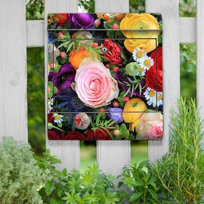 motivX-Ideenwerkstatt Briefkasten Kombi Wandbriefkasten mit Motiv Bunter Blumenstrauss