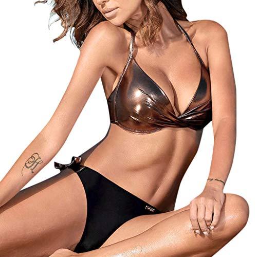 Traje de baño para mujer, traje de baño de retazos con lentejuelas para mujer, conjunto de bikini push up en la playa, traje de baño brasileño, traje de baño para mujer, control de barriga (marrón M)