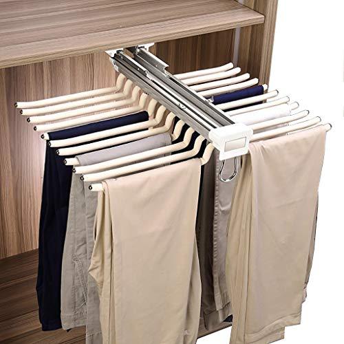 FKKleiderstangen Push-Pull-Schrank Hosen-Rack, 22 Paar Hosen-Rack, Schal Jeans Lagerung Gedämpfte Laufschiene, Schrank Organizer Storage Rack, weiß Beflockung Rod