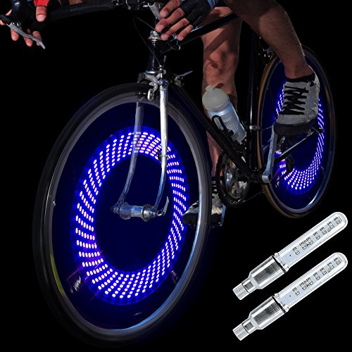 DAWAY A08 Bike Tire Valve Stem Lights - Cool Led Bicycle Wheel Light, 2 Pack, Waterproof, Glow in The Dark Safe Bycicle Accessories for Men Women Youth, Super Bright, Blue Graphics