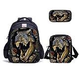 Jurassic Park - Mochilas de dinosaurios para escuela, lonchera, bolsa para lápices Godzilla, 6-1, 3 piezas,