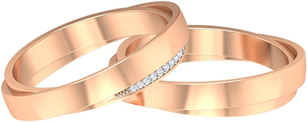 Diamond Selling rankings Wide Band Max 62% OFF Ring Set for and Gold 14K Him Her