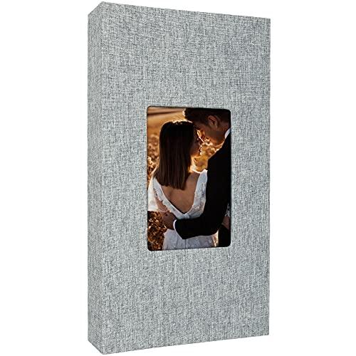Álbum de fotos Lino 300 bolsillos para fotos 4x6 Cubierta de tela...