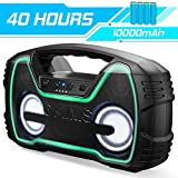 Bluetooth Speakers, AOMAIS 40-Hour Playtime Portable Outdoor/Indoor Wireless Speaker with 10000mAh Battery, 25W Loud Super Bass / IPX7 Waterproof/TWS/LED Lights for Home Party, Pool [2019 Newest]