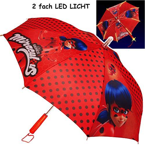 alles-meine.de GmbH Kinderschirm / Regenschirm _ LED Licht Farbwechsel + Taschenlampe _ Miraculous - Ladybug und Cat Noir - Ø 85 cm - groß / Stockschirm mit Griff - Kinder - Auto..