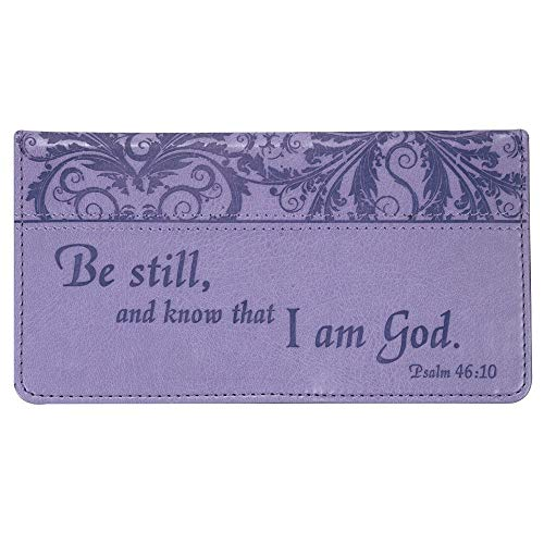 """Checkbook Cover for Women """"Be Still"""" Christian Purple Wallet, Faux Leather Christian Checkbook Cover for Duplicate Checks & Credit Cards - Psalm 46:10"""