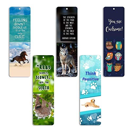 Creanoso Animal Bookmarks (10 Pack) - Dog Horse Owl Sloth Wolf Bookmarks for Books - for Men Women Boys Girls Teens Kids - Reading Bookmarks