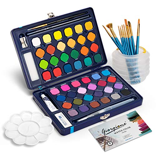 Watercolor Paint Set, Frunsi 48 Assorted Watercolor Travel Kit with Water Brush Pen, Watercolor Paper, Portable Watercolor Cakes for Sketching Painting Coloring