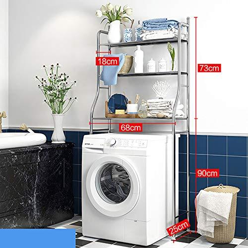 PAGHY 3-lagiges Aufbewahrungsregal für Waschmaschinen, Metall, platzsparend, lagerstark, geeignet für Trommelwaschmaschinen, Legierung, edelstahl, Größe