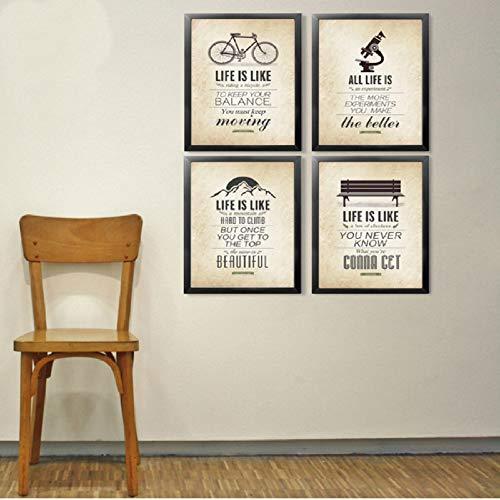 XWArtpic Citazioni di Ispirazione Classica Vintage Quadri Famosi su Tela Poster e Stampe su Tela Immagini Pop per Soggiorno Home Decor 60 * 80cm