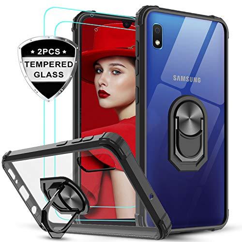 LeYi für Samsung Galaxy A10/M10 Hülle mit Panzerglas Schutzfolie(2 Stück), Ringhalter Schutzhülle Crystal Clear Cover Air Cushion Bumper Handy Hüllen für Hülle Samsung Galaxy A10 Handyhülle Schwarz