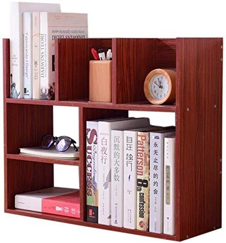 AGWa Regale Desktop-Bücherregal Buch Display-Ständer zur Selbstmontage Verwenden Holzständer Home Decoration,Mahagoni Farbe