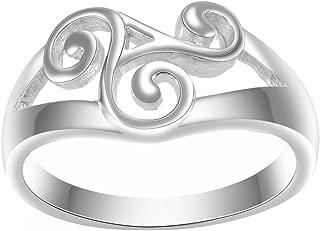 Javeny 925 Sterling Silver Simple Plain Irish Celtic Spiral Promise Engagement Bridal Wedding Rings for Women