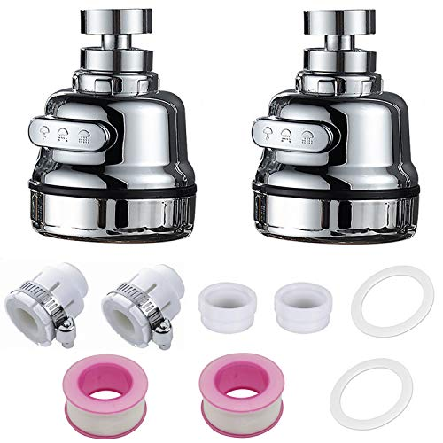 OBSGUMU 2Pack Movable Kitchen Faucet Head Replacement, 360° Rotatable Universal Sink Faucet Sprayer Head Faucet Filter Water Saving Faucet Aerator,3 Modes with Universal Interface-Newest 2020