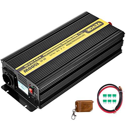 VEVOR 230V Spannungswandler Wechselrichter, 1500W Reiner Sinuswellen Wechselrichter, GYS-1500W 12V DC Pure Sine Wave Power, Reiner Sinus-Wechselrichter Fernbedienung mit Kabel LCD-Bildschirm Schwarz