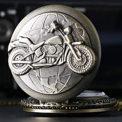 GANFANREN Regalo degli uomini del pendente della collana dell'orologio da tasca della motocicletta del motociclo del bronzo antico