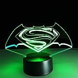 Estéreo Superman vs Bat superhéroe hombre gradiente creativo ahorro de energía USB 3D LED luz de noche lámpara de mesa decoración de noche regalo para niños
