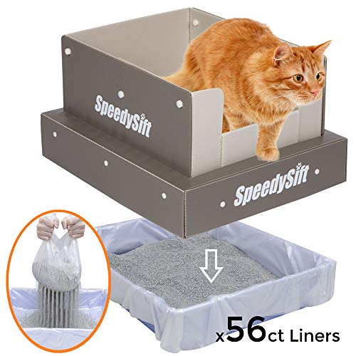 SpeedySift Cat Litter Box + 56ct New Improved Sifting Liners + Multi-Function High-Sided