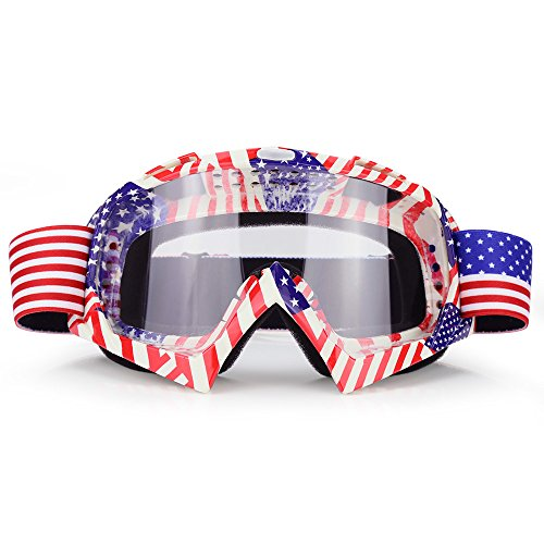 JAMIEWIN Motocross Motorcycle Goggles Clear Lens Dirt Bike Riding ATV Goggles Mx Goggle Glasses for Men Women Youth Kids (C63)
